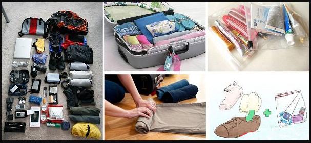 xếp hành lý trong vali