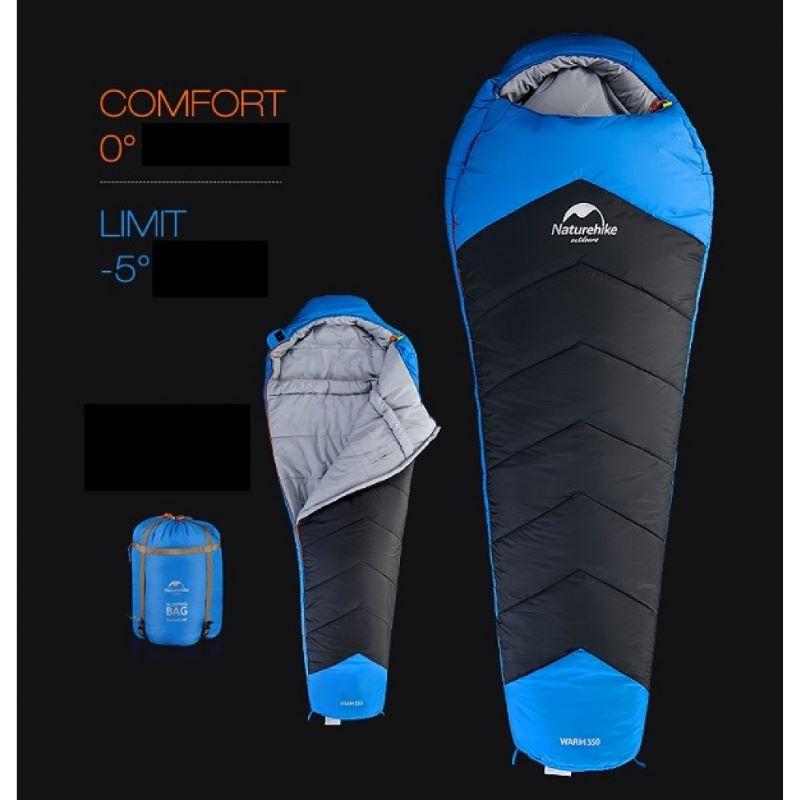 Túi ngủ đi phượt Naturehike Caskil 350 màu xanh, đen